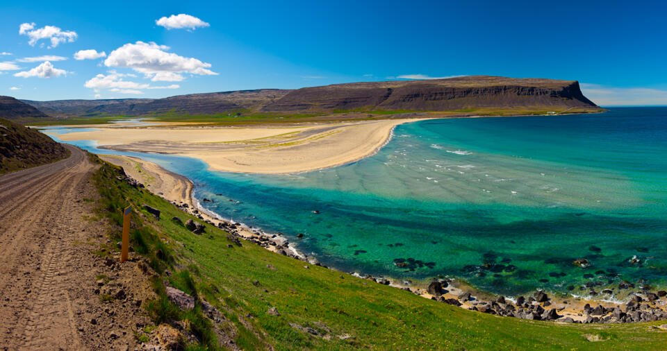 Westfjords Iceland with beach