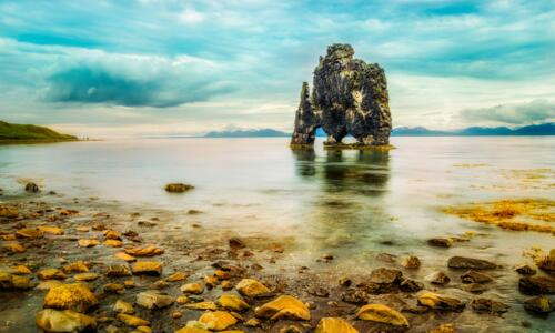 hvitserkur rock in the sea